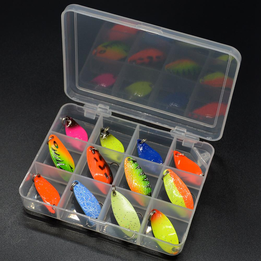 WLDSLURE 12pcs mixed 3g/4.5g/5g fishing box metal bait spoon lure set trout lure fishing tackle enlarge