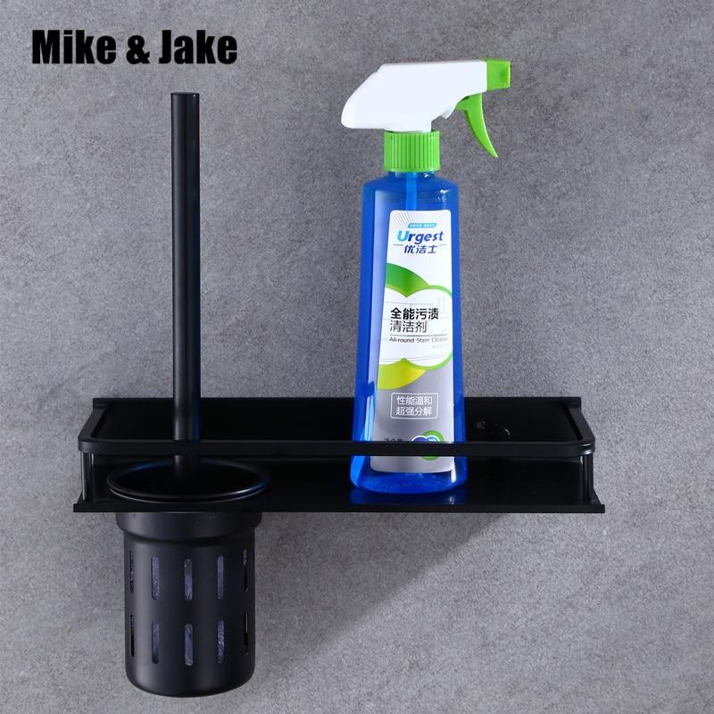 Soporte de cepillo de aluminio negro para baño, estante de cepillo de pared, estante de cepillo negro de estilo de EUA de lujo para baño, accesorios de baño MH6003