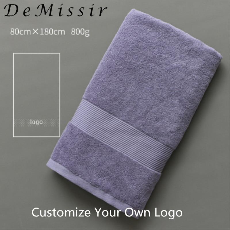 DeMissir OEM Custom Logo Beauty Salon Towel Egyptain Cotton Bath Face Hand Towels Skirt Robes Hotel Grey White Bath Towels