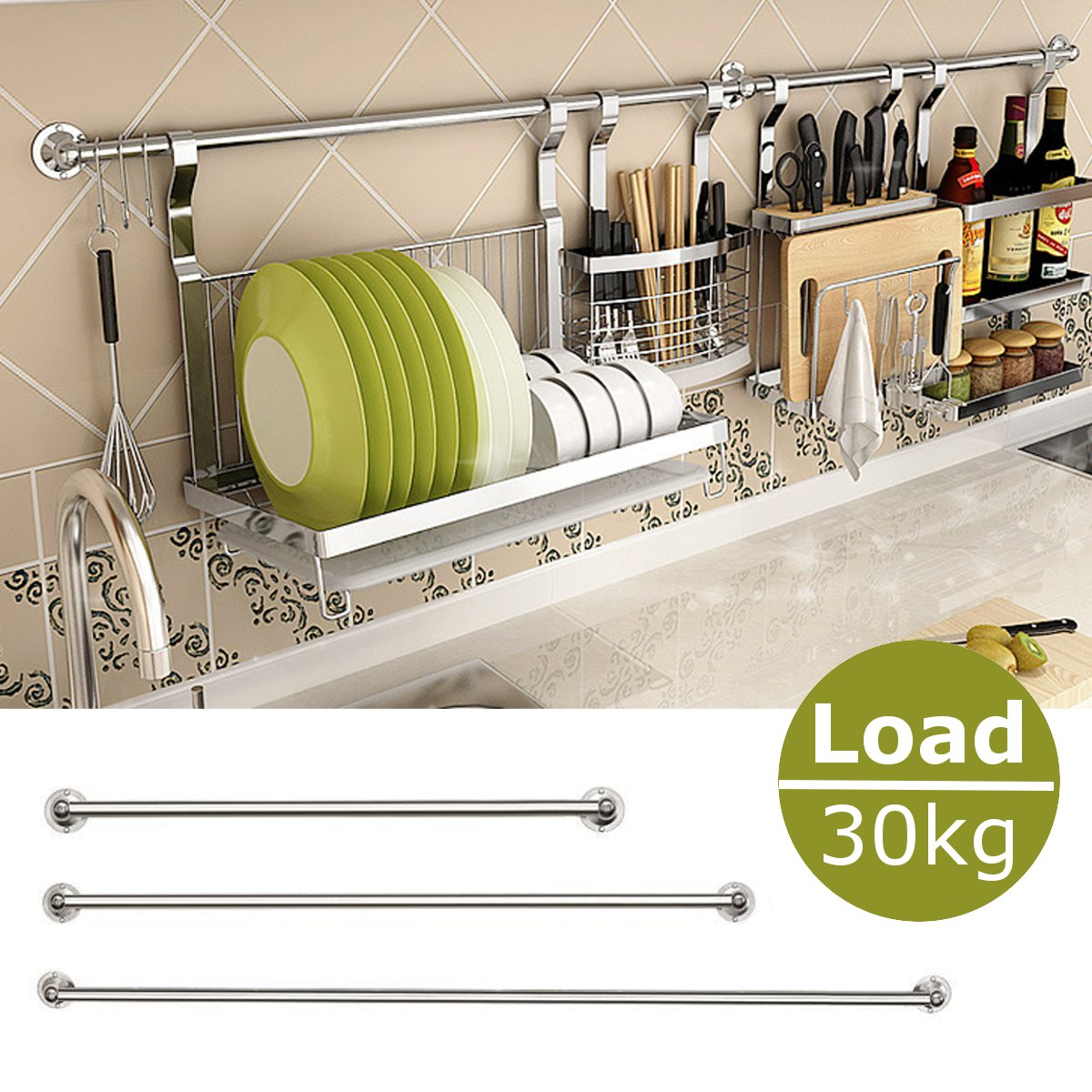 30/40/50/60cm Stainless Steel Hanging Rod Home Kitchen Bar Organizer Wall Mounted Storage Stick Holder Kitchen Tools Accessories