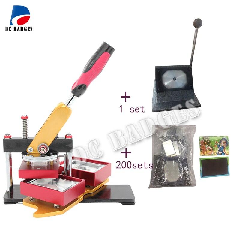Freies Verschiffen 80*53mm Rechteck magnetische taste abzeichen, Der Maschine mit stander papier cutter und 100sets magnet material