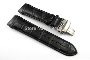 24mm (Buckle 22mm) T035627 T035614 High Quality Silver Butterfly Buckle + Black Genuine Leather Watchband belts For T035 man