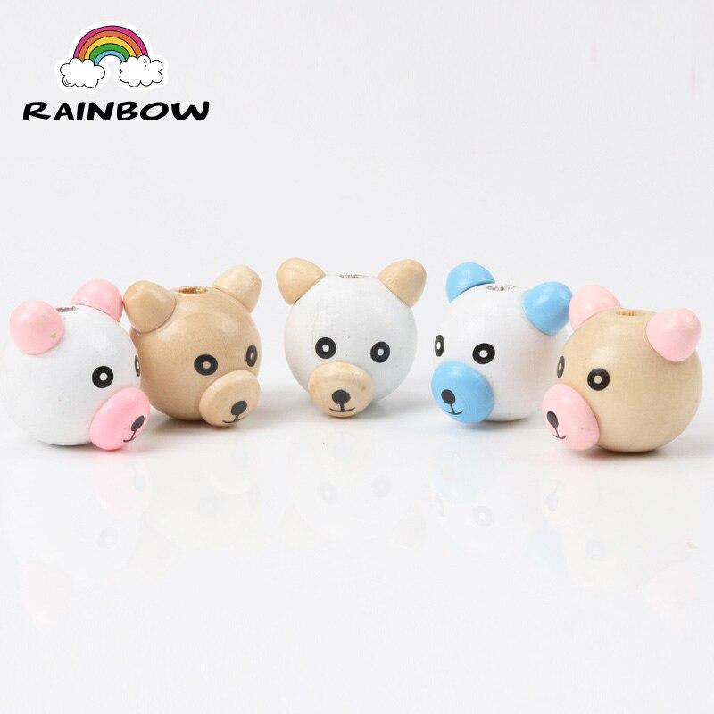 Cute Kids Wood Material Beads 3D Bear Shape Cute Spacer Loose beads Fit kids Handmake DIY Accessory 28mm 10pcs