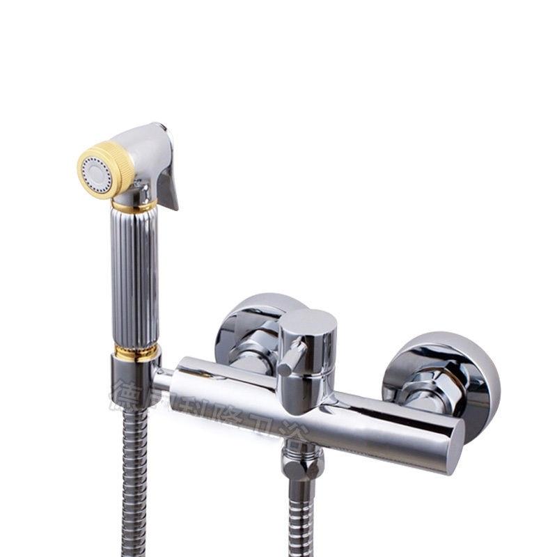 Free shipping High-grade Brass Bidet Shattaf Shower Sprayer with Hot and Cold Water Mixer Valve Bar Holder 02-189