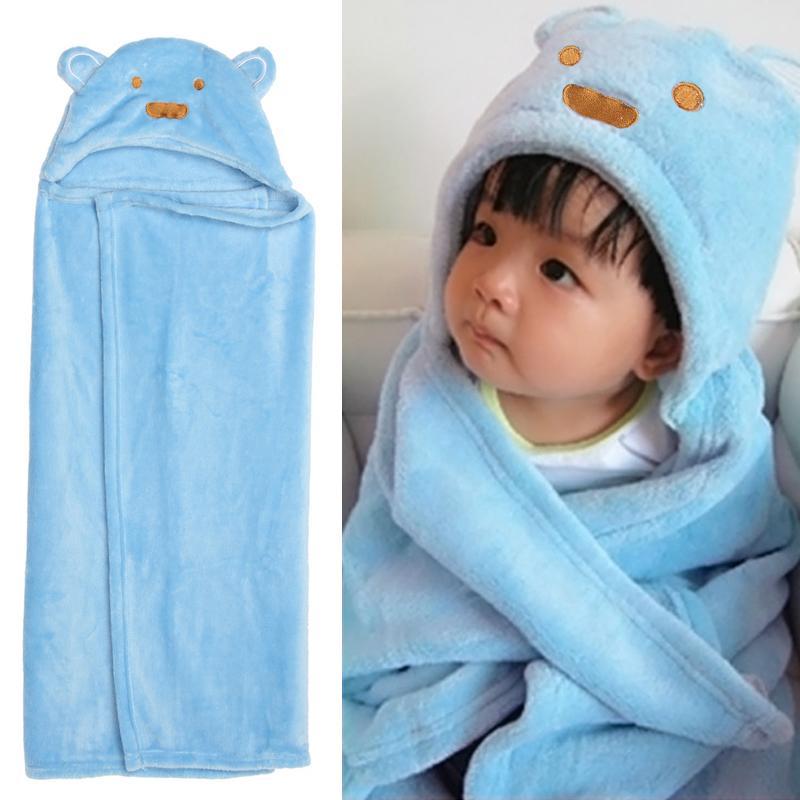 Albornoz con capucha para niños de 100x69 cm, toalla de bebé de franela con dibujos animados, hermosa Toalla de baño para bebé, envoltura para dormir suave con animales de dibujos animados