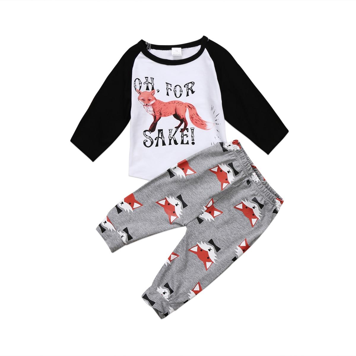Citgeett 0-24M bebé niño niña mono de zorro OH camiseta Tops + Pantalones conjunto de ropa de impresión larga 2017
