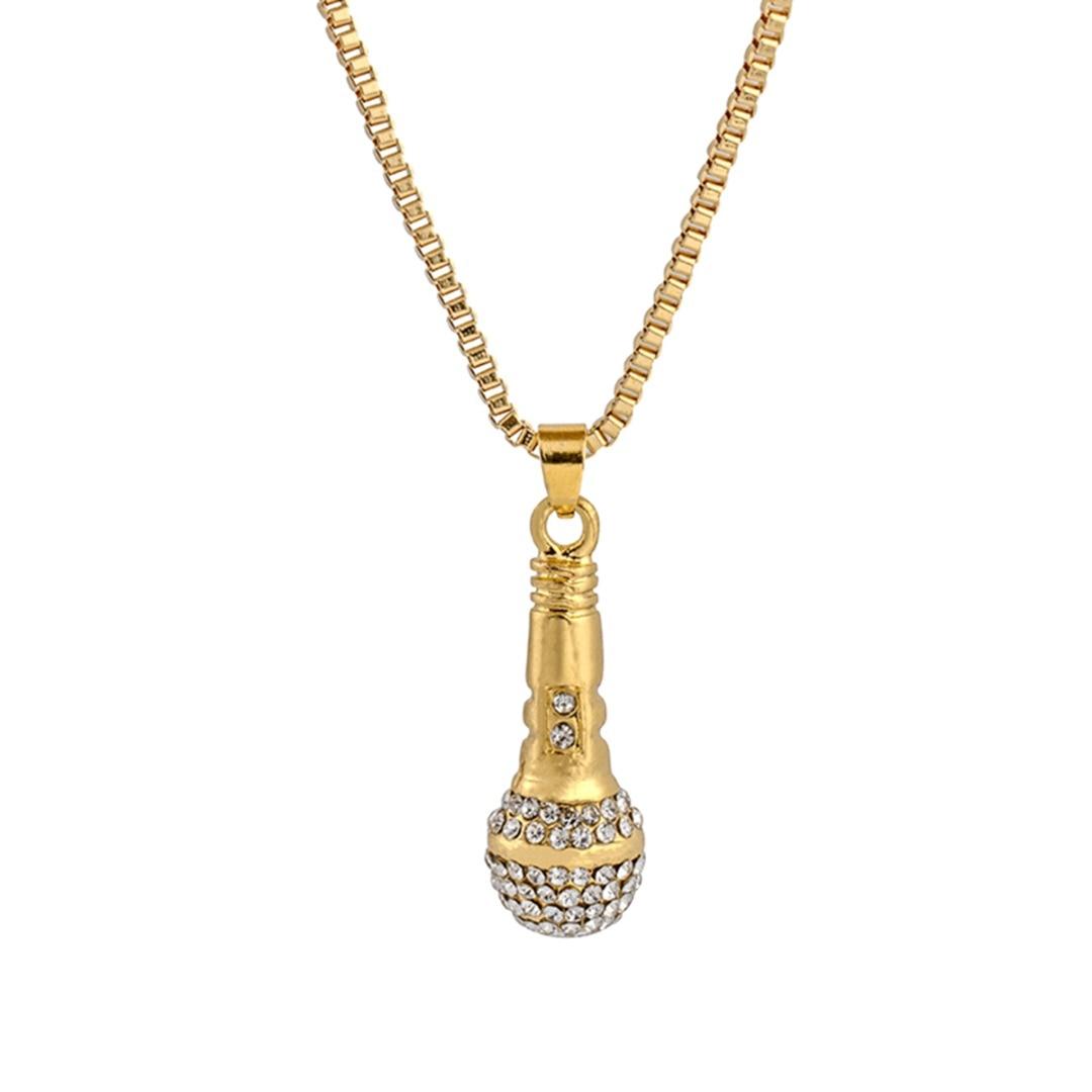 Hip hop ouro cor corrente colar shellhard feminino microfone pingente colar charme punk jóias