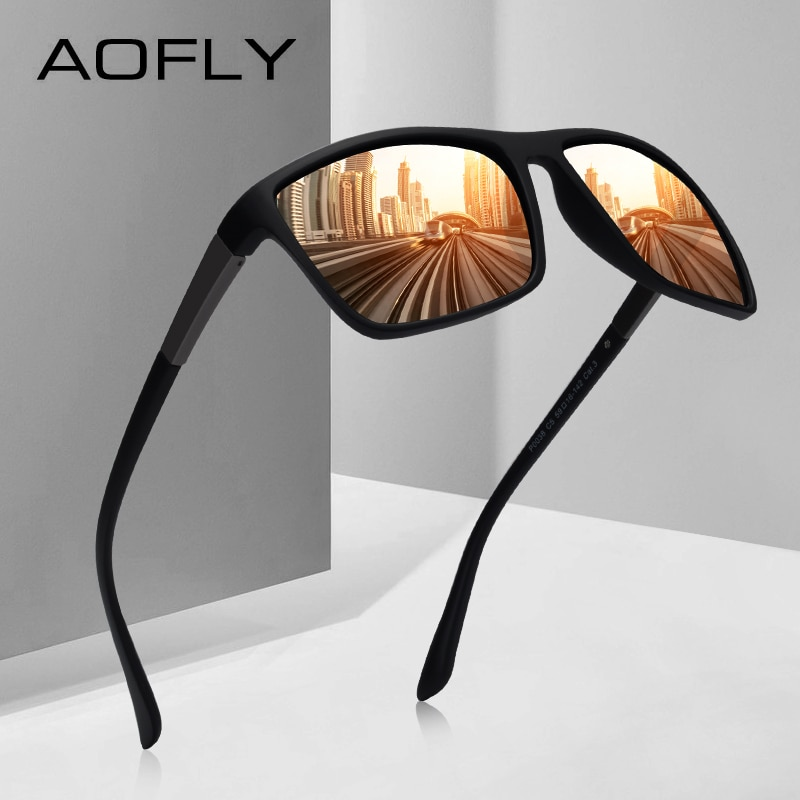 Marca AOFLY, Gafas de sol de diseño para hombres, Gafas de sol polarizadas para conducir para hombre, Gafas cuadradas Vintage, Gafas, Gafas UV400 AF8103