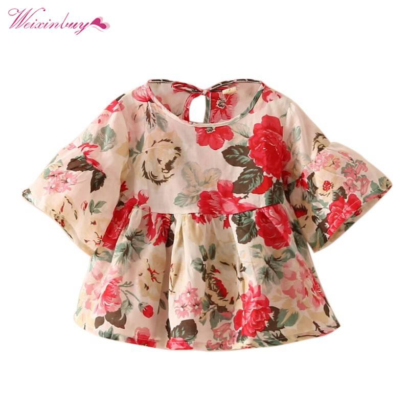 WEIXINBUY bebé niños niñas vestido Retro Floral Blusa de manga de hombre tlife Tops camisa volantes blusas
