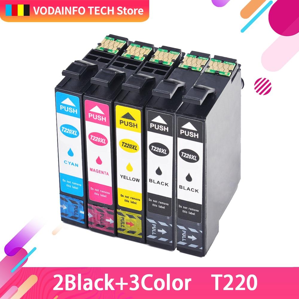 QSYRAINBOW 5 Compatible EPSON 220XL T220 XL cartuchos de tinta, cartuchos de XP-320 XP-420 XP-424 WF-2630 WF-2650 WF-2660 WF-2760 impresora