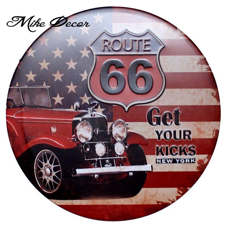 [Mike Decor] Ruta 66 recibe tus patadas señal circular pintura metálica retro regalo artesanal Bar Pub habitación decoración YA-944 pedido combinado