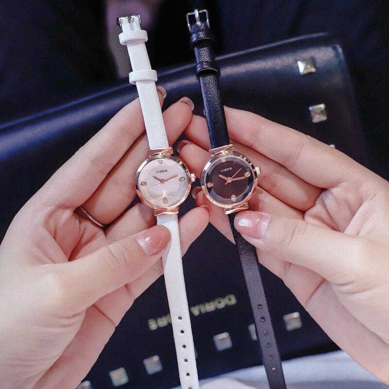 Moda de luxo casual senhoras pequenos relógios strass charme vestido feminino relógio preto branco feminino couro quartzo relógios de pulso