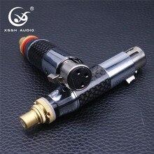 4 pièces XSSH audio 3 broches connecteur noir XLR Fiber de carbone tellure cuivre RCA plaqué or Rhodium femelle mâle XLR à RCA adaptateur