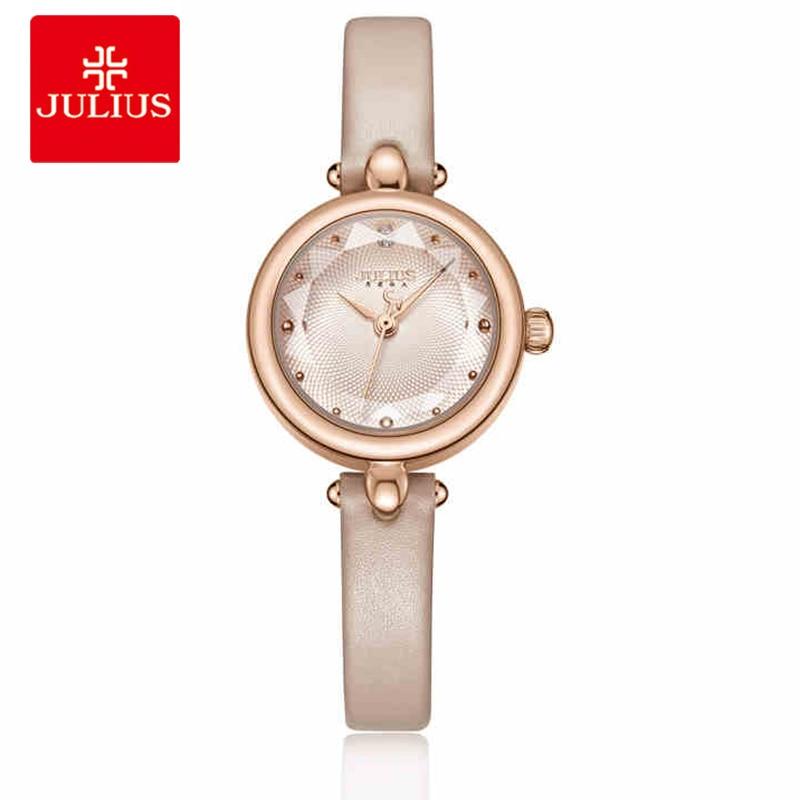 Julius Luxury Rose Gold Women Quartz Wrist Watch Vintage Small Dial Ladies Watch Female Leather Bracelet Watch Relogio Feminino