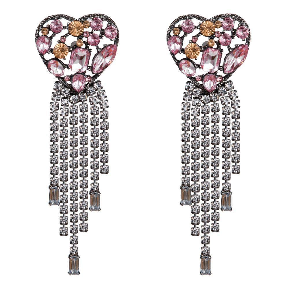 Pendientes grandes con diamantes de imitación y diseño de corazón para mujer, accesorios de joyería de moda para verano 2019