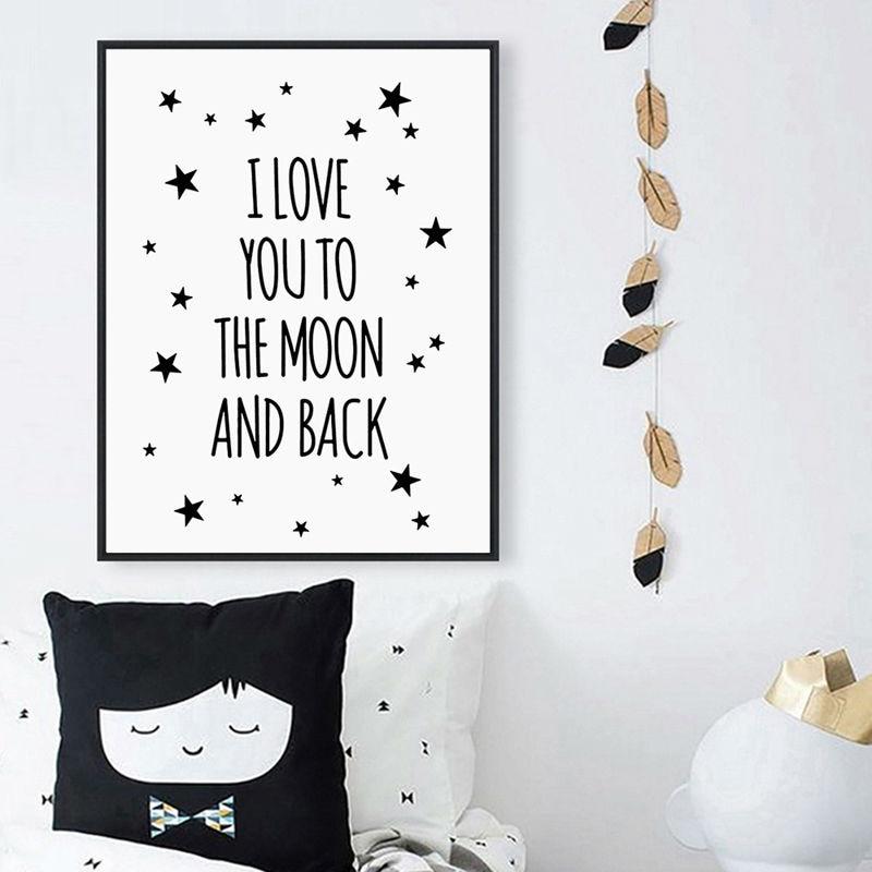 Lienzo con cita de I Love You To The Moon And Back, Impresión de Arte de estrella, cartel para habitación de niños, imagen de pared, pintura para sala de estar, póster para decoración del hogar