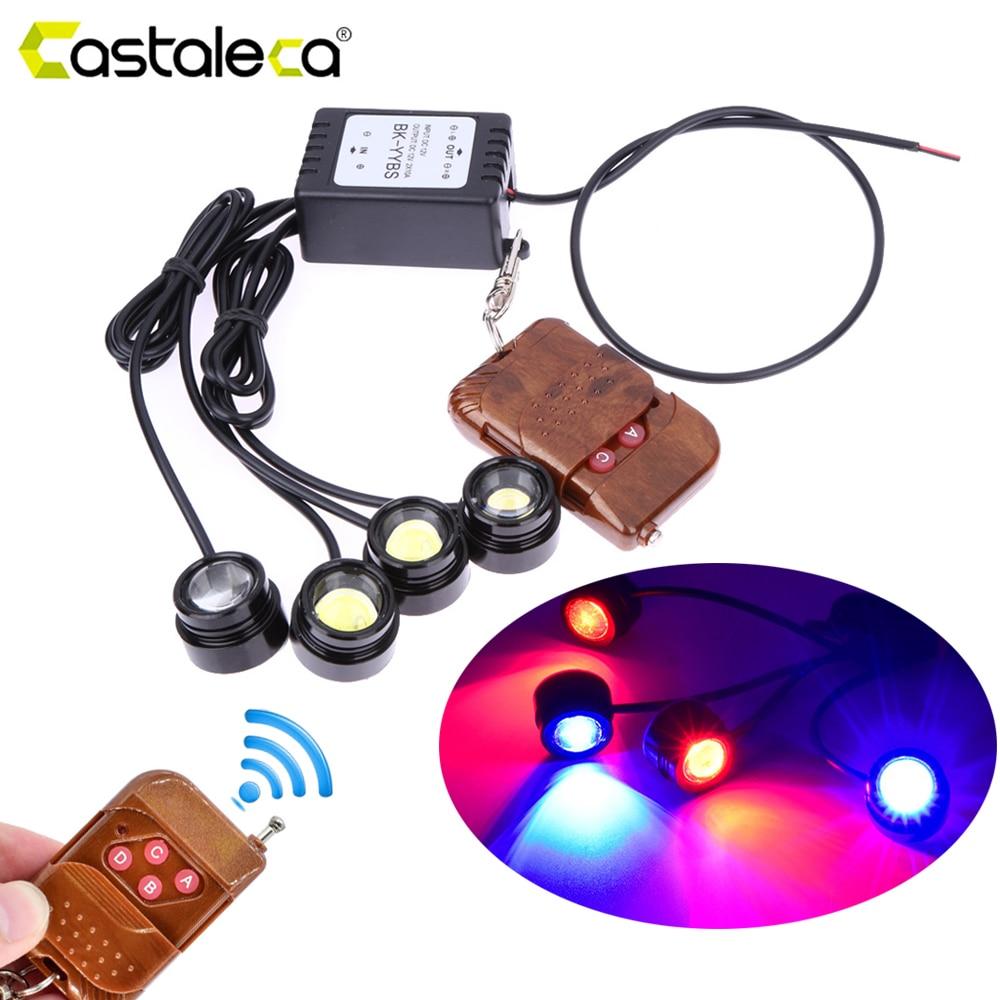 Castaleca Vehicle 4in1 LED Daytime Running light Eagle eye Warning Strobe Lights Wireless Remote Control Kit 12V Fog Lamp