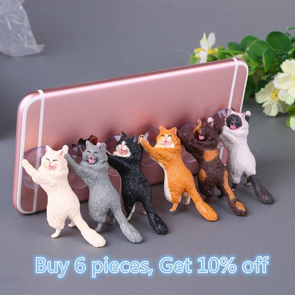 Soporte de teléfono lindo gato soporte de resina soporte para teléfono móvil ventosas tabletas de escritorio ventosa diseño teléfono inteligente de gran calidad soporte