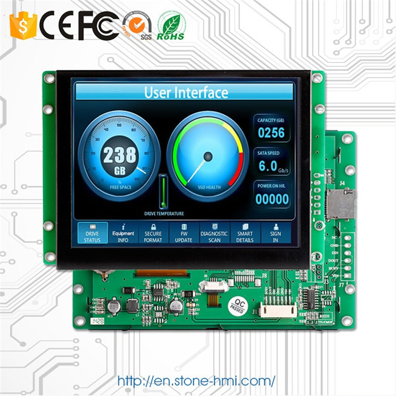 Small Size LCD With CPU 4.3 Free Shipping And Fast Delivery Time 480*272 Resolution RS232 / RS485 / TTL Port