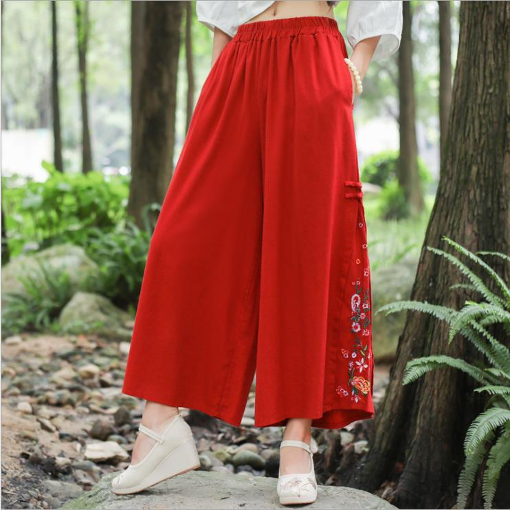 2019 otoño nuevo algodón y lino suelto bordado pantalones de pierna ancha