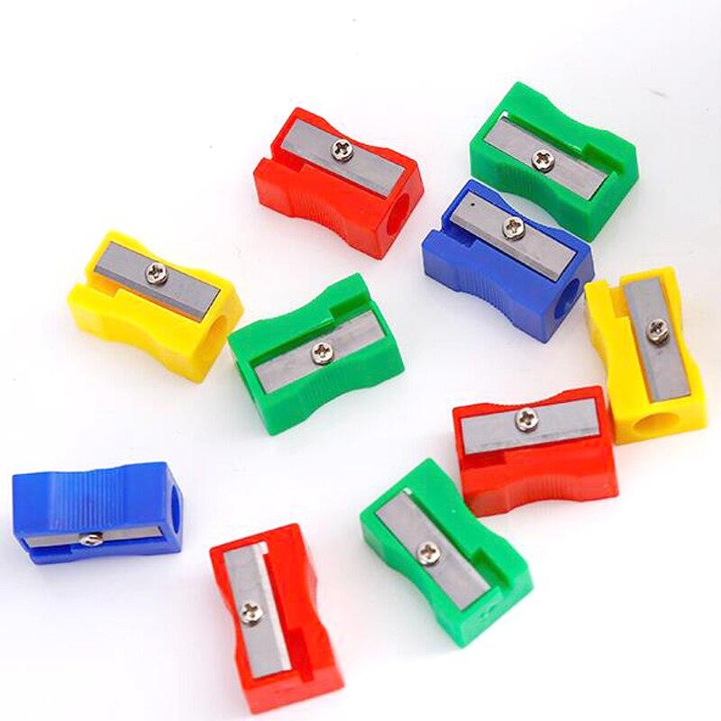 Novo 100 peças apontadores de lápis fácil de usar escritório escola caneta apontador de lápis de alta qualidade moda único buraco cortador de lápis