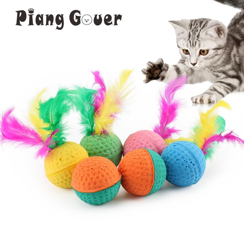 10 unids/lote Pet juguetes de látex Bola de juguete para gato bola de espuma Feahter gatito gatos jugando pelota de juguete