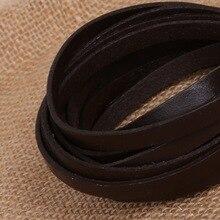 (Largeur 6mm épaisseur 2mm) cordon de corde en cuir véritable marron noir 3 mètre/lot pour la fabrication de bijoux Bracelet et collier