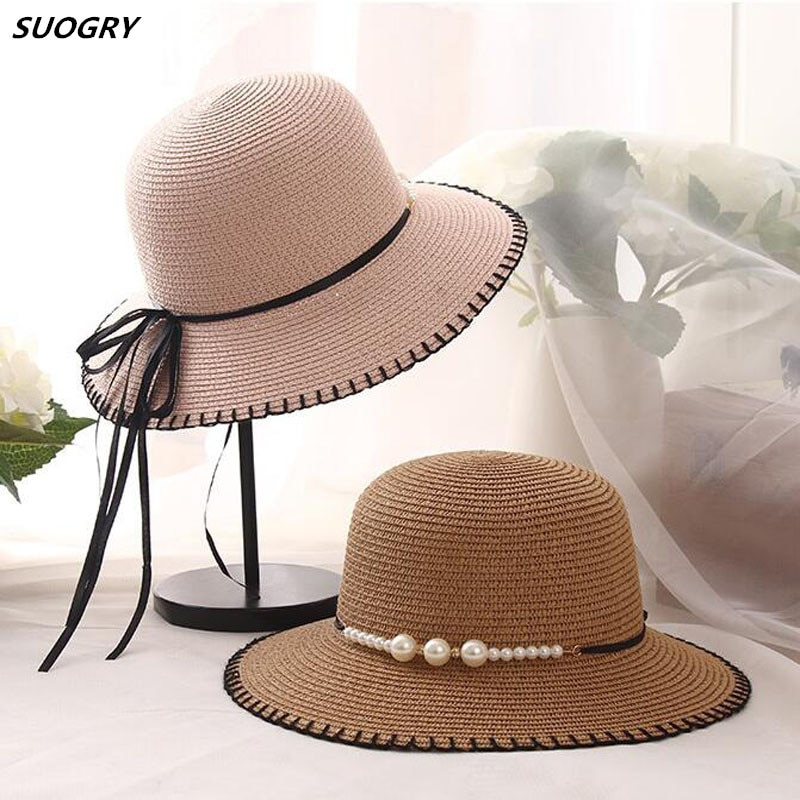 New Fashion Cap Women Suture Summer Bucket Hats For Holiday Girl Pearl Wide Brim Sun Hat Straw Ladies Beach