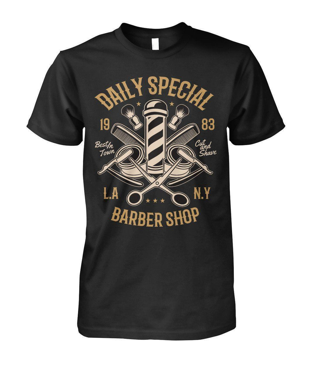 Lustige Kleidung Casual Kurzarm T-shirts Barber Shop Hemd Täglichen Spezielle Bräutigam Stil Hipster Herren Unisex Damen T-shirt T-shirt