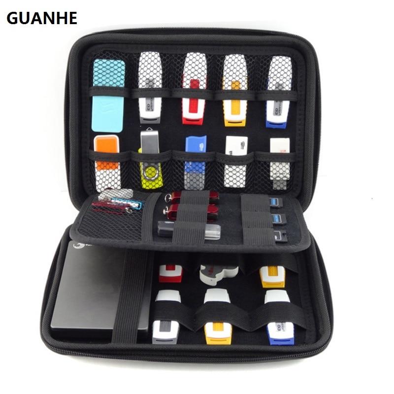 GUANHE BIG SIZE USB Drive Organizer Electronics Accessories Case  / Hard Drive Bag  22*16*4.5cm USB Flash Drive Case Bag