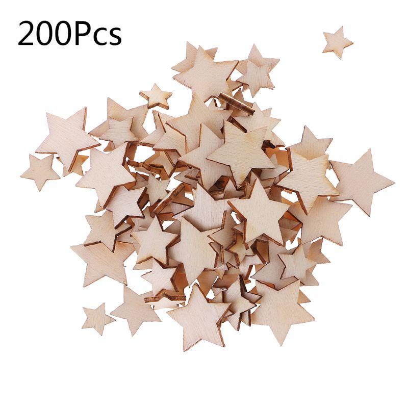 Adorno de estrella de madera cortada con láser de 200 Uds., decoración en forma de madera para bodas, artesanía artesanal DIY