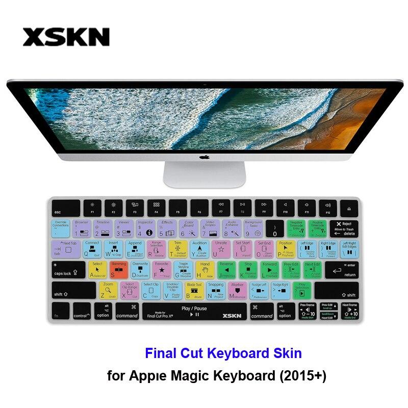 XSKN para Apple Final Cut Pro X Photoshop PS CC Silicone Pele Teclado para iMac Teclado Mágico Inglês Atalho Tecla de Atalho inteligente Pele