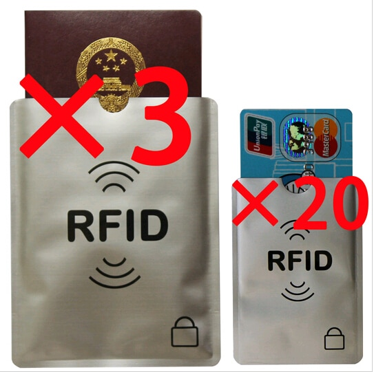 20 + 3 pces anti roubo rfid cartão de crédito protetor rfid bloqueio manga protetor de alumínio extra 3 pces passaporte rfid manga bloqueio