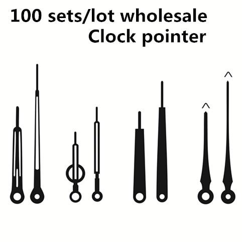 Atacado 100 conjuntos de alta qualidade relógio de quartzo ponteiro diy reparação preto metal agulha relógio de parede acessórios mão substituição
