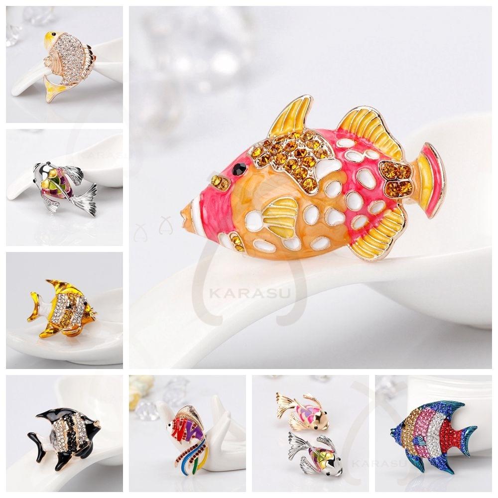 Many Fish Bone Styles Goldfish Carp Enamel Fish Brooch Pin for Women Animal Rhinestones Shell Brooch Simulated Pearl Jewelry