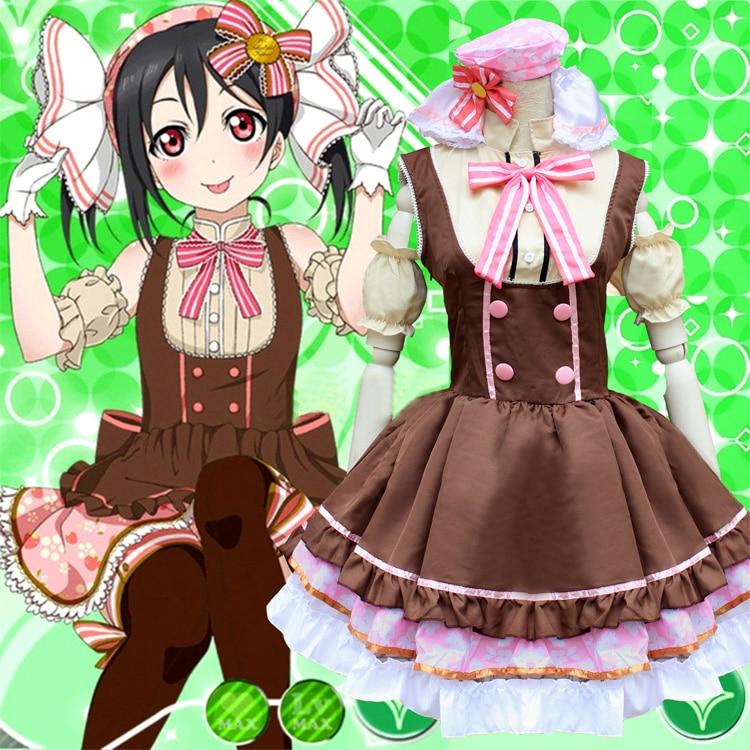 Uniforme de sirvienta Candy Yazawa de Love Live, disfraz de princesa Lolita (vestido + tocado + pajarita + manga)