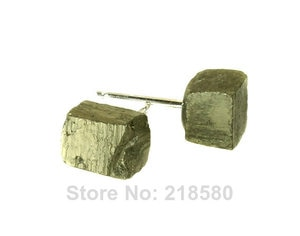 H-CE49 Boho Style Jewelry Cube Pyrite Stud  Earrings Silver or gold