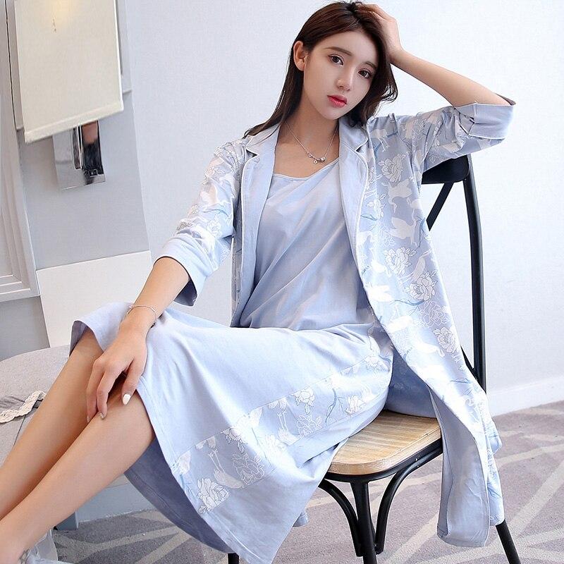 النقي القطن رداء ثوب النوم مجموعة للنساء طباعة 2 قطعة دعوى Nightrobe + باس النوم Homewear ملابس نوم الرداء فام
