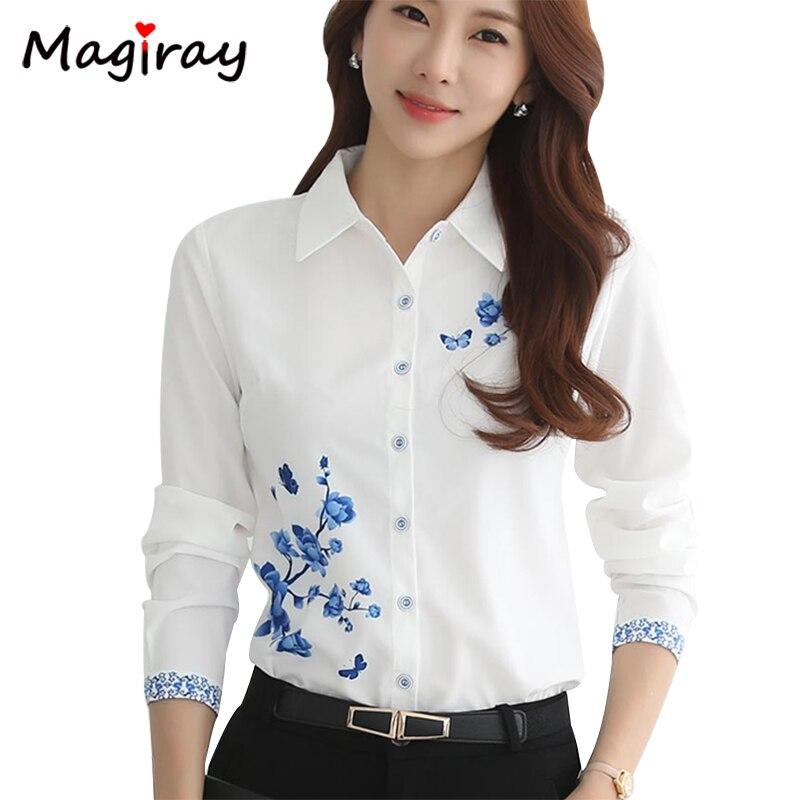 Manga larga azul Flor Mariposa impresión blusa de las mujeres 2020 de Otoño de verano Top elegante Oficina de Trabajo Plus tamaño camiseta blusa blanca C181