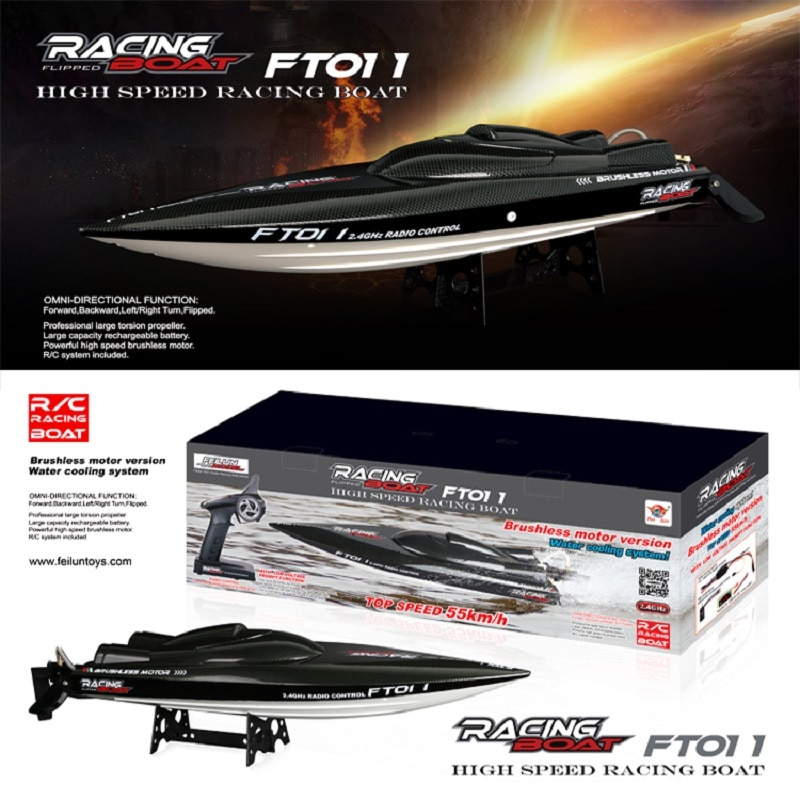 50 km/h Feilun FT011 فرش السيارات RC قارب مياه التبريد قارب سباق عالي السرعة 65 سنتيمتر RTR 2.4 جيجا هرتز
