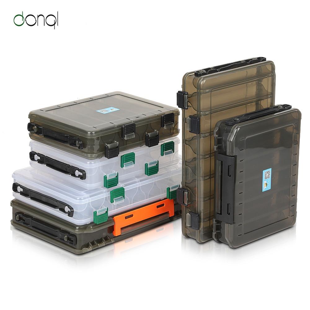 Donql caixa de equipamento de pesca compartimentos caixa armazenamento para acessórios de pesca da carpa caixa de plástico dupla face para isca de pesca