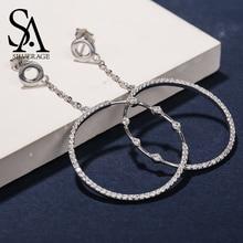 SA SILVERAGE 925 Sterling Silver Circle Hoop Earrings for Woman Zirconia Long Earrings 925 Silver Big Earings boucle d'oreille