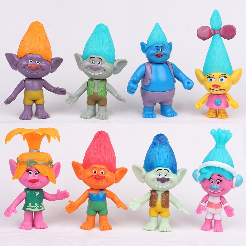 Caliente lindo 8 unids/lote Dreamworks Trolls Poppy rama Bridget/Príncipe cartílago/DJ Suki/tipo diamante/Creek Cooper juguete de figura de PVC