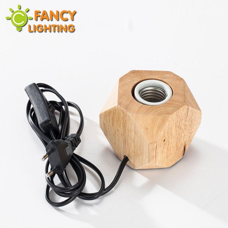 Lâmpada de mesa de madeira ue-plug lâmpada de mesa do vintage luz de mesa com e27 lâmpada de cabeceira lâmpadas para o quarto/quarto decoração diamante base de madeira