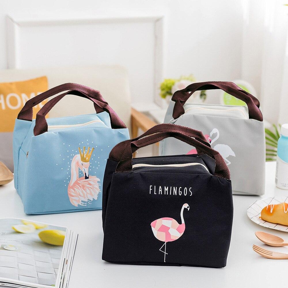 Сумка-холодильник с рисунком птицы, водонепроницаемая сумка из ткани Оксфорд с фламинго, сумка для ланча, теплая, на молнии, многофункционал...
