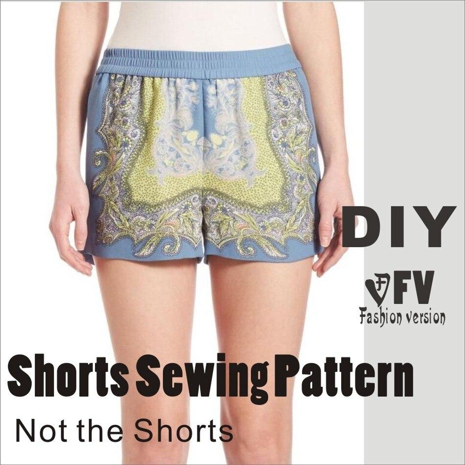 Pantalones patrón de costura del patrón de Los pantalones (No pantalones) Pantalones Cortos de cintura Elástica patrón de costura BDK-8