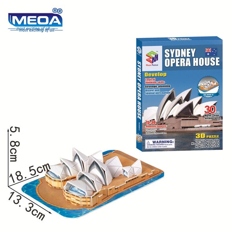 Rompecabezas 3D de Arquitectura de fama mundial Australia Sydney ópera construcción de casa juguetes rompecabezas juguetes educativos para niños