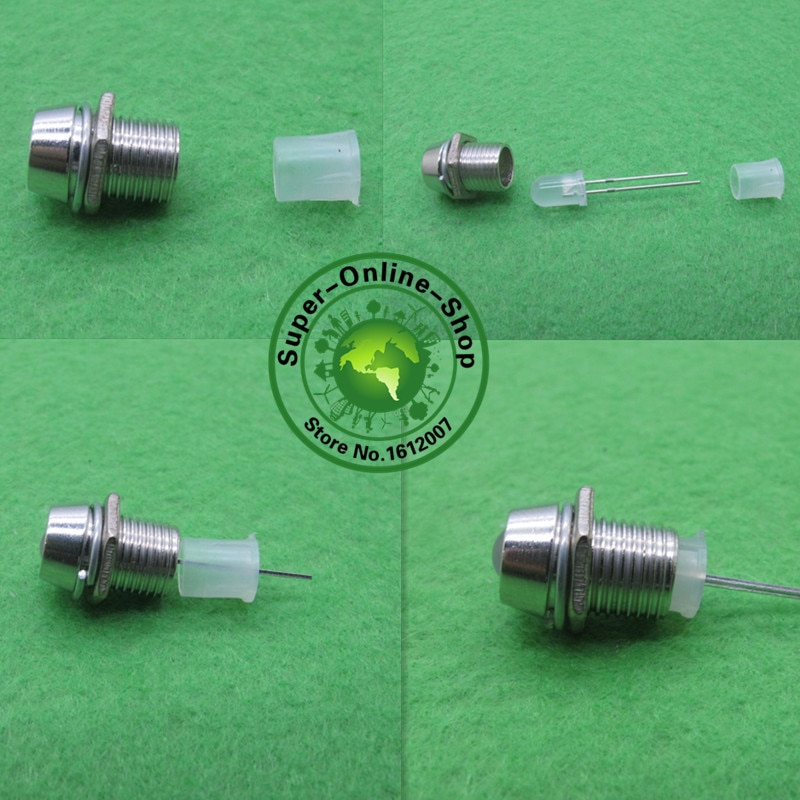 Металлический хромированный LED держатель, 50 шт., 5 мм, рамка, крепление, панель, дисплей, держатели для 5 мм светодиодов, белый, красный, синий, з...