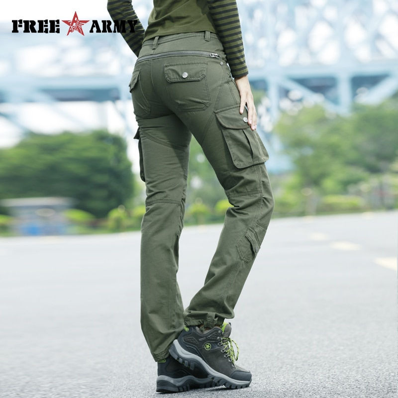 sp show children winter straight boy and girl trousers zipper fly solid straight unisex 62504 High Waist Pockets Trousers Green Casual Women Pants Military Cargo Pants Cotton Trousers Pleated Zipper Fly Straight Capris