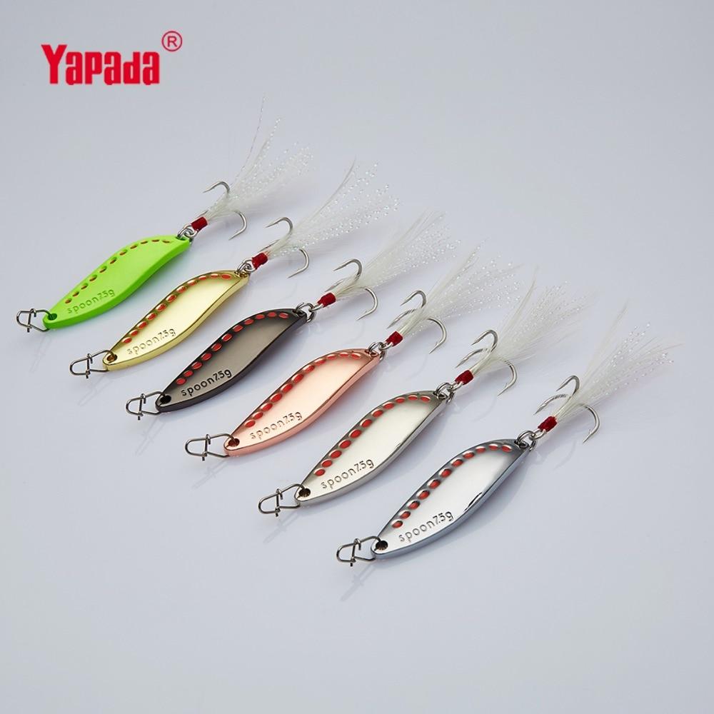 YAPADA cuillère 014 sangsue nouveau triple crochet + plume 7.5g/15g multicolore 45mm/55mm cuillère en métal leurres de pêche